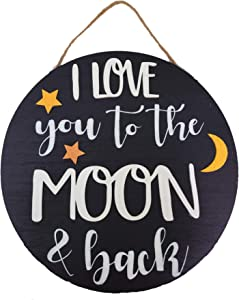 Blooming Party Round Wood Nursery Wall Decor, I Love You to The Moon & Back (Hanging Rope)