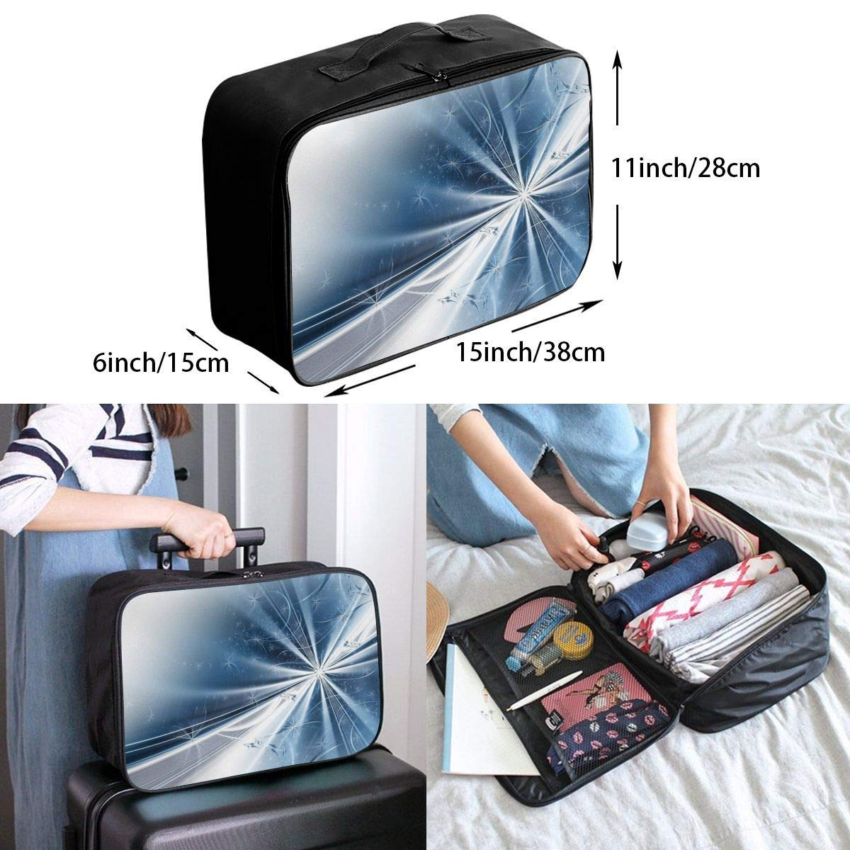 Lightweight Large Capacity Portable Duffel Bag for Men /& Women Snowflakes Lights Travel Duffel Bag Backpack JTRVW Luggage Bags for Travel