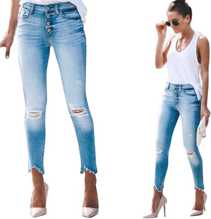 KanCan KC8393L Low Rise Light Wash Distressed Skinny Jeans Frayed Hem Blue Denim