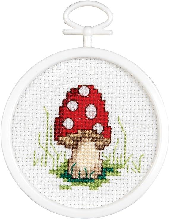 Tobin 21-1496 Janlynn Mini Cross Stitch Kit 2.5 Round-Mushroom 18 Count