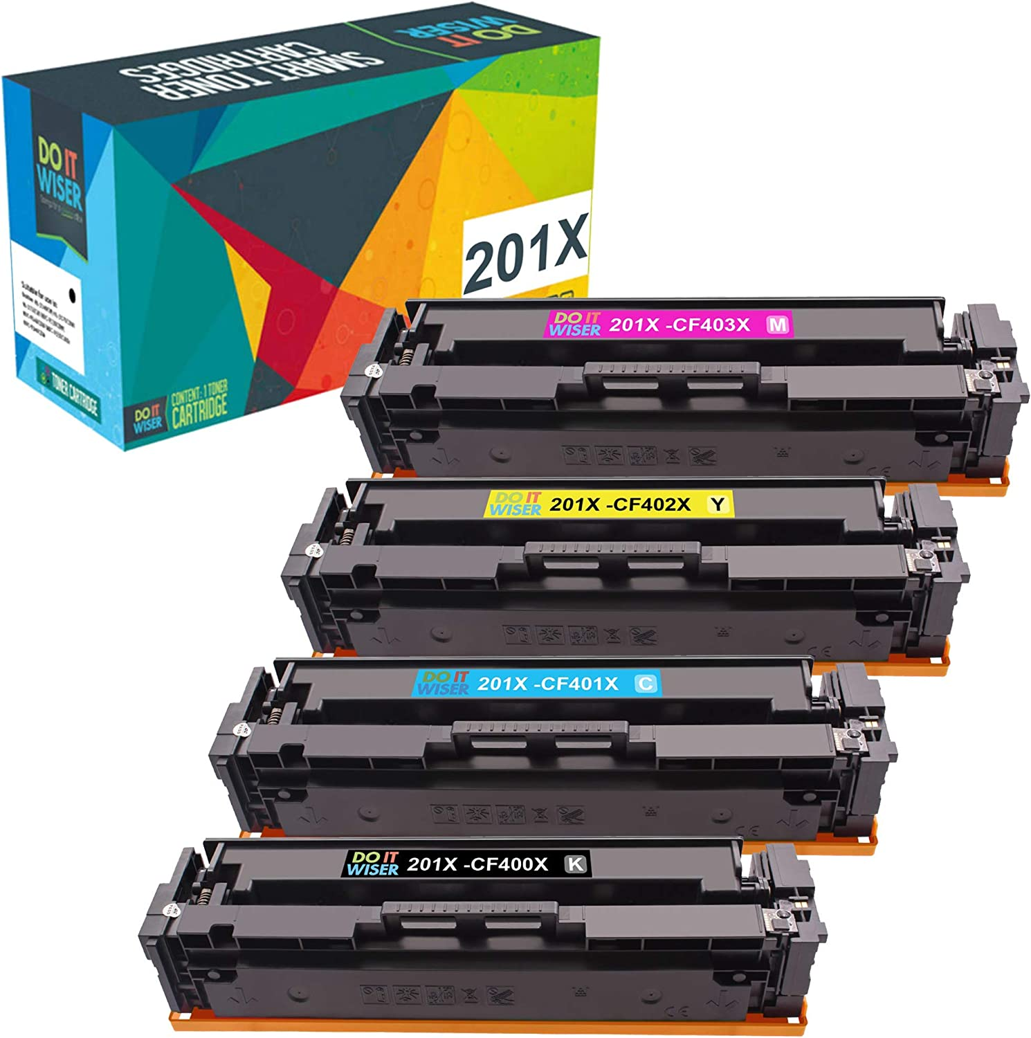 Do it Wiser Compatible Toner Cartridge Replacement for HP 201X 201A CF400X CF401X CF402X CF403X CF400A for Color Laserjet Pro MFP M277dw M252dw M277n M277c6 M252n M277 (Black, Cyan, Magenta, Yellow)