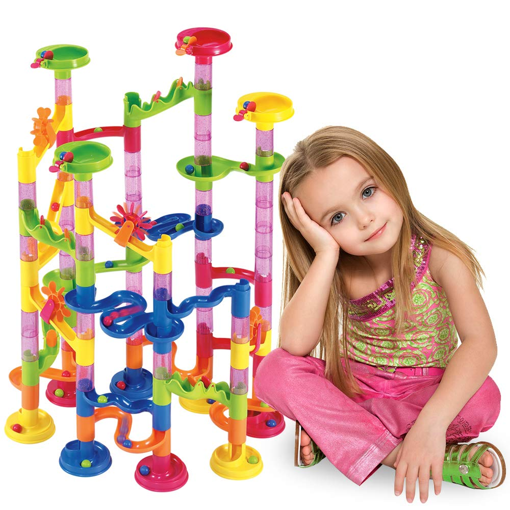 Beebeerun Marble Run Set 105 Pcs, Construction Toys for Kids, 75 Building Blocks + 30 Toys Game Toys for 4 5 6 7 Year Old Boy