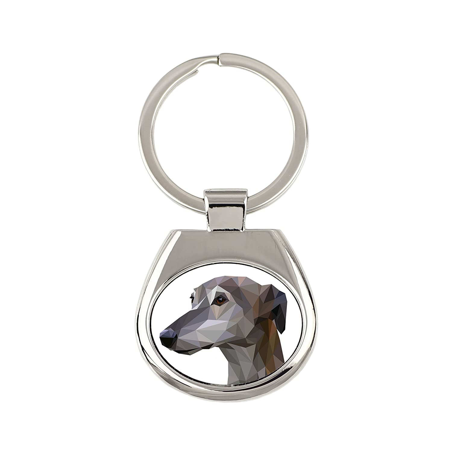 Geometric Collection New Keyring with Purebred Dog Greyhound