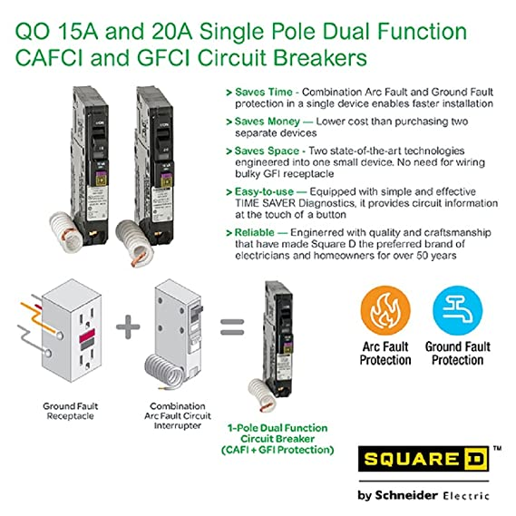 Pleasant Square D By Schneider Electric Qo115Dfc 15 Amp Single Pole Dual Wiring Cloud Hisonuggs Outletorg
