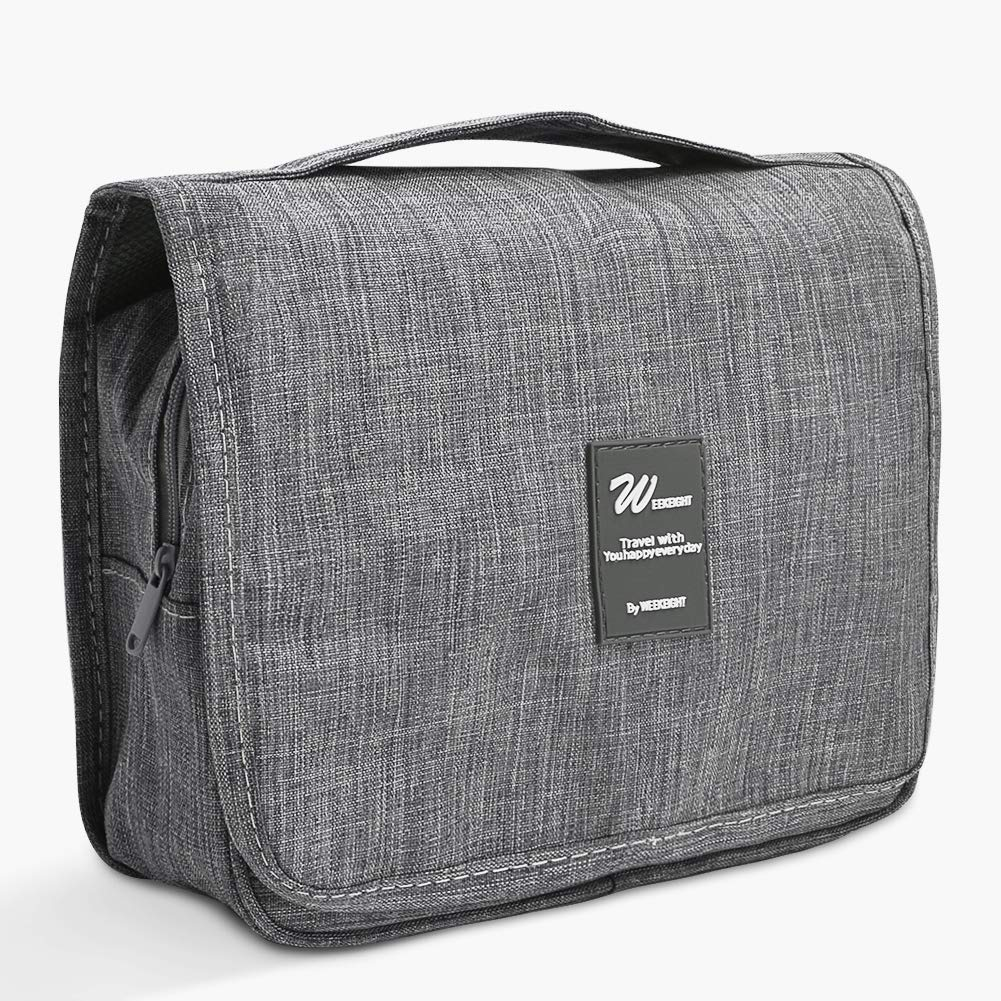 Hanging Toiletry Bag, Portable Travel Organizer Dopp Kit Wash Bag Grey Color for Women and Men