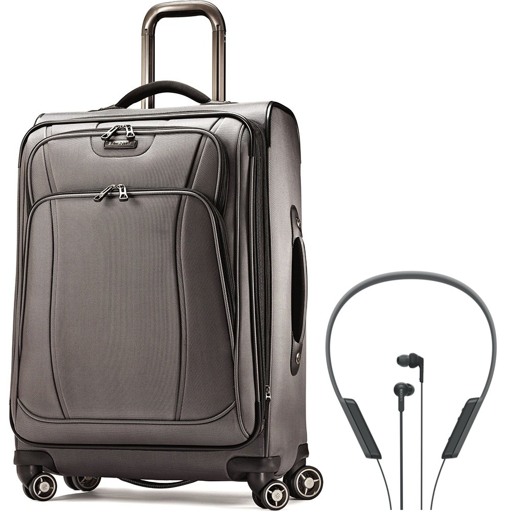 Samsonite DK3 Spinner 29 Suitcase Charcoal (60288-1174) with Sony Bluetooth Wireless In-Ear Headphones with NFC Black by Samsonite