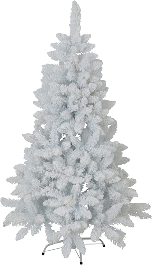 6Ft Flocked White Artificial Christmas Foldable Tree With Stand 180 H X 100 W