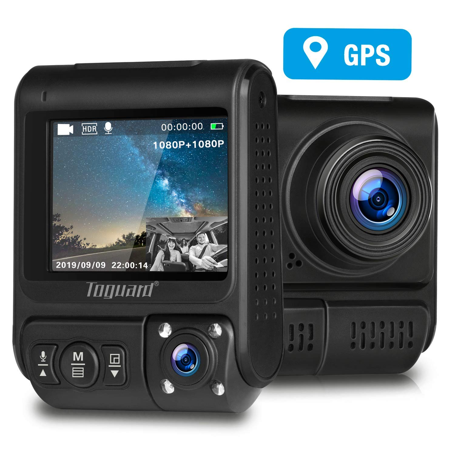 TOGUARD Uber Dual Dash Cam Built-in GPS in Car Driving Recorder 1080P Front and 1080P Cabin Dash Camera IR Night Vision 2'' 330° Car Camera with Parking Monitor, WDR, Motion Detection for Car Taxi by TOGUARD