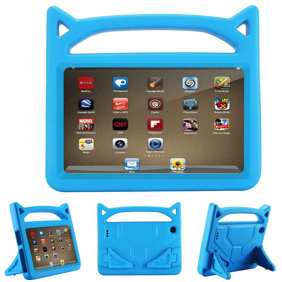 All-New Fire HD 8 Case for kids - YooNow Light Weight Shock Proof Convertible Handle Kid-Proof Cover Kids Case for Amazon Fire HD 8 inch Display Tablet (2017/2016 Release,7th/6th Generation) (Blue)