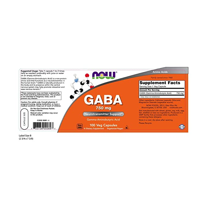 Now Foods GABA 750mg (100) 100 g 100 Unidades