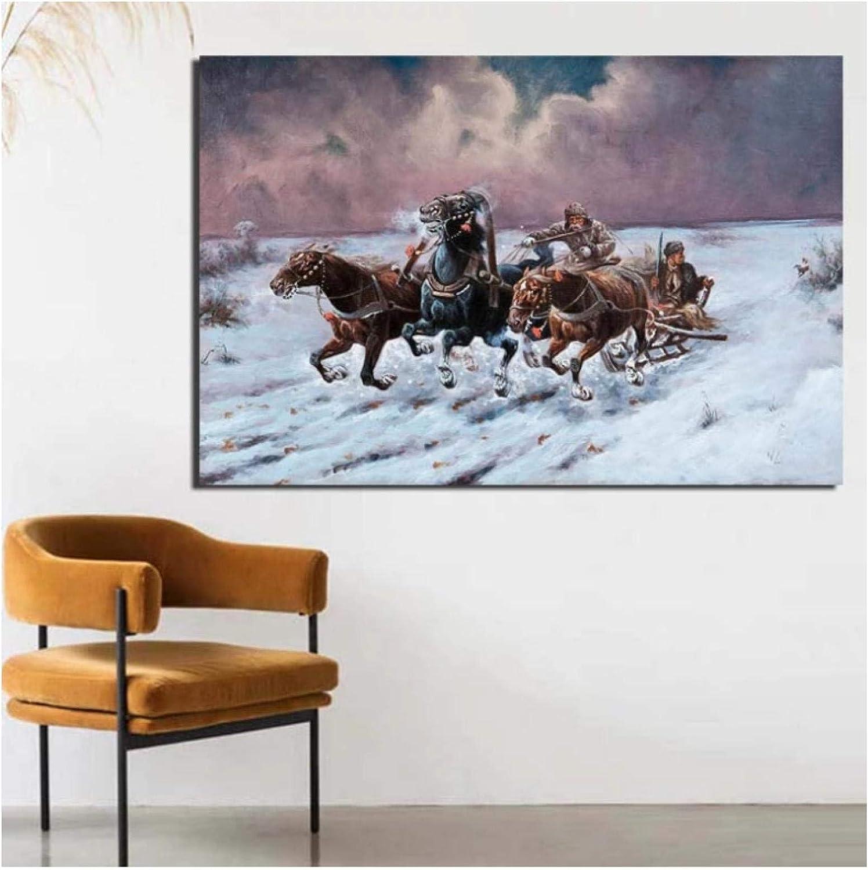 DNJKSA Pintor Famoso Caballo de Nieve Arte de la Pared Pintura al óleo Pintura en Lienzo Obra de Arte Impresión en Lienzo Pintura Sala de Estar Decoración para el hogar (60x90cm -24x36 IN Sin Marco