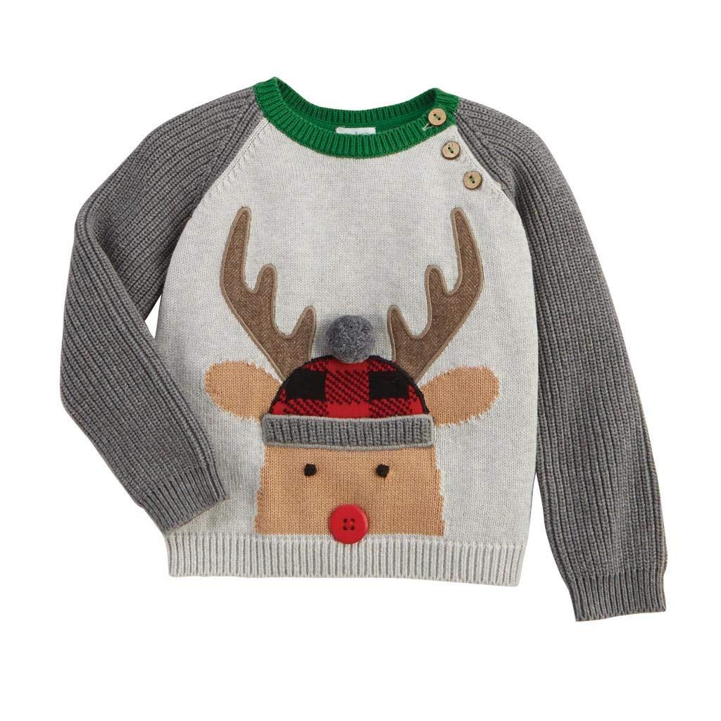 Mud Pie Kids Boys Christmas Alpine Village Reindeer Buffalo Check Sweater Medium (2T-3T) by Mud Pie