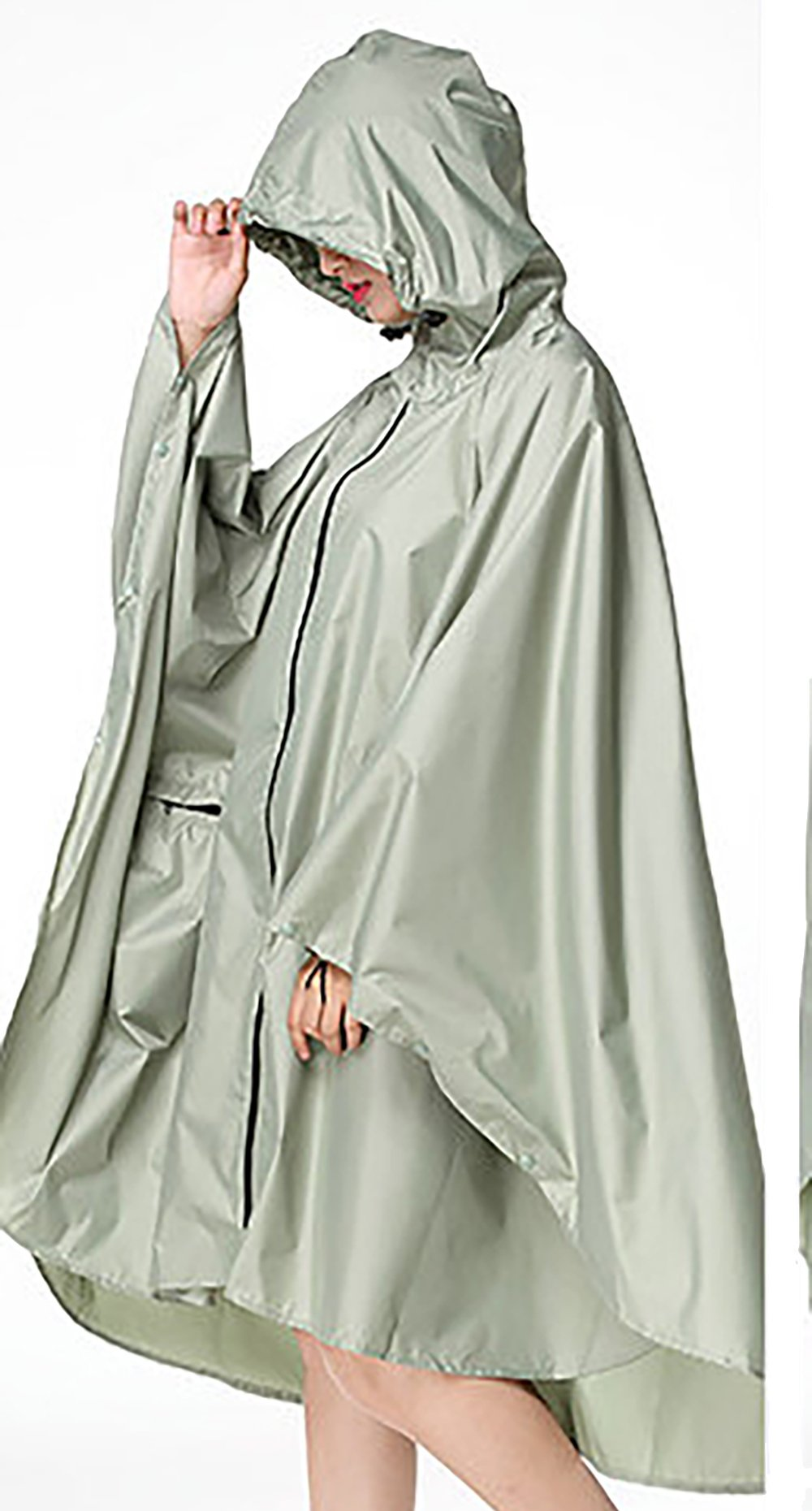 QZUnique Lightweight Outdoor Hooded Waterproof Packable Rain Poncho Jacket Coat Raincoat with Zipper for Adults by QZUnique (Image #4)