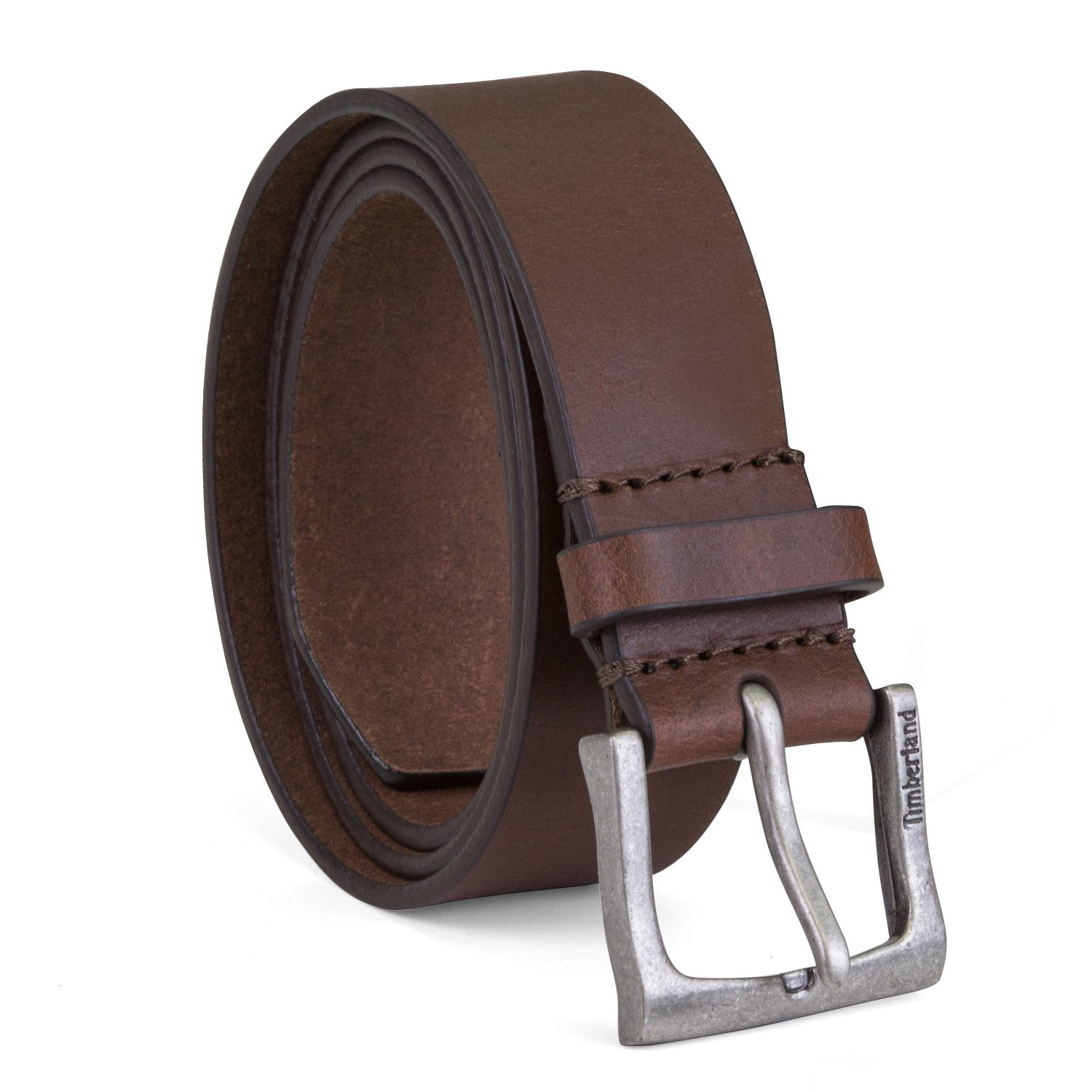 Timberland Mens Leather Belt Classic Jean Belt With Logo Buckle 1.4 Inches Wide (Big And Tall Sizes Available) Timberland Accessories