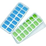 WKMR Silicone Ice Cube Trays 2 Pack with Removable lids,Easy-Release and Flexible 28 ice Cube molds with Spill-Resistant LFGB Certified & BPA Free, Durable Stackable and Dishwasher Safe