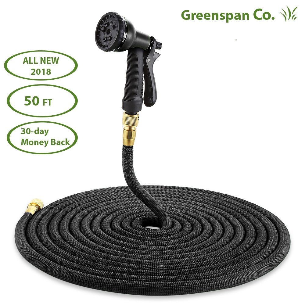 Greenspan Co.. 50 ft expandable lawn hose & 7-way adjustable spray nozzle. Our flexible garden hose is light-weight w/triple latex core, heavy-duty protective thread mesh and all brass fittings.