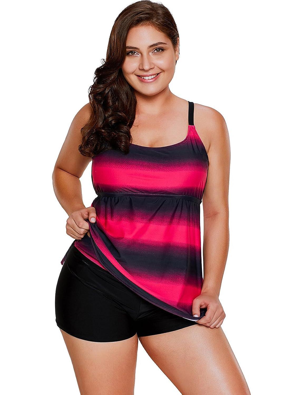 Lalagen Women's Plus Size Two Pieces Tankini Set Straps Athletic Swimwear