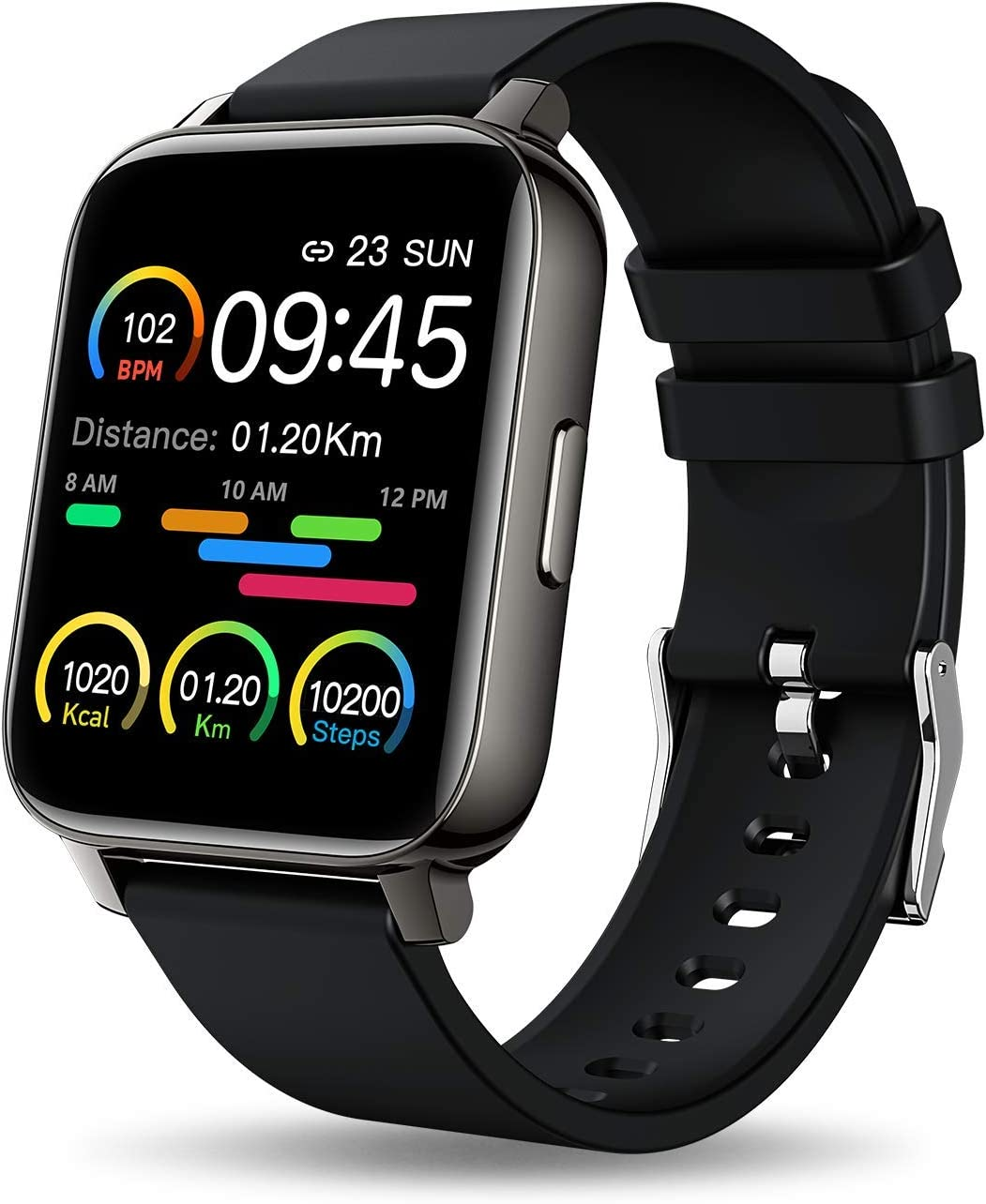 MuGo Smart Watch, 1.69 inch Fitness Tracker, Smartwatch with Heart Rate/Sleep Monitor, Calorie/Step Counter Activity Tracker, Stopwatch, Blood Oxygen Monitor, Full Touch Fitness Watch for Men Women