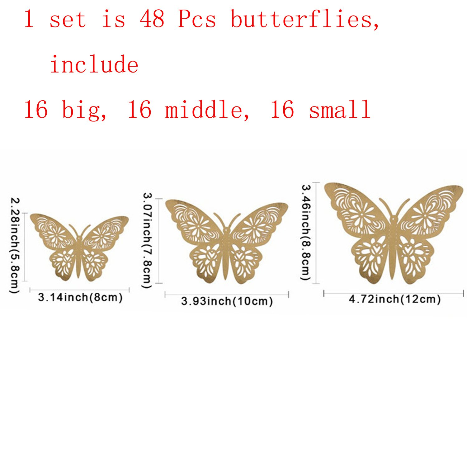 Gold 1 aooyaoo 24pcs//lot 3D Butterfly Kids Wall Stickers Fridge for Nursery Room Decoration