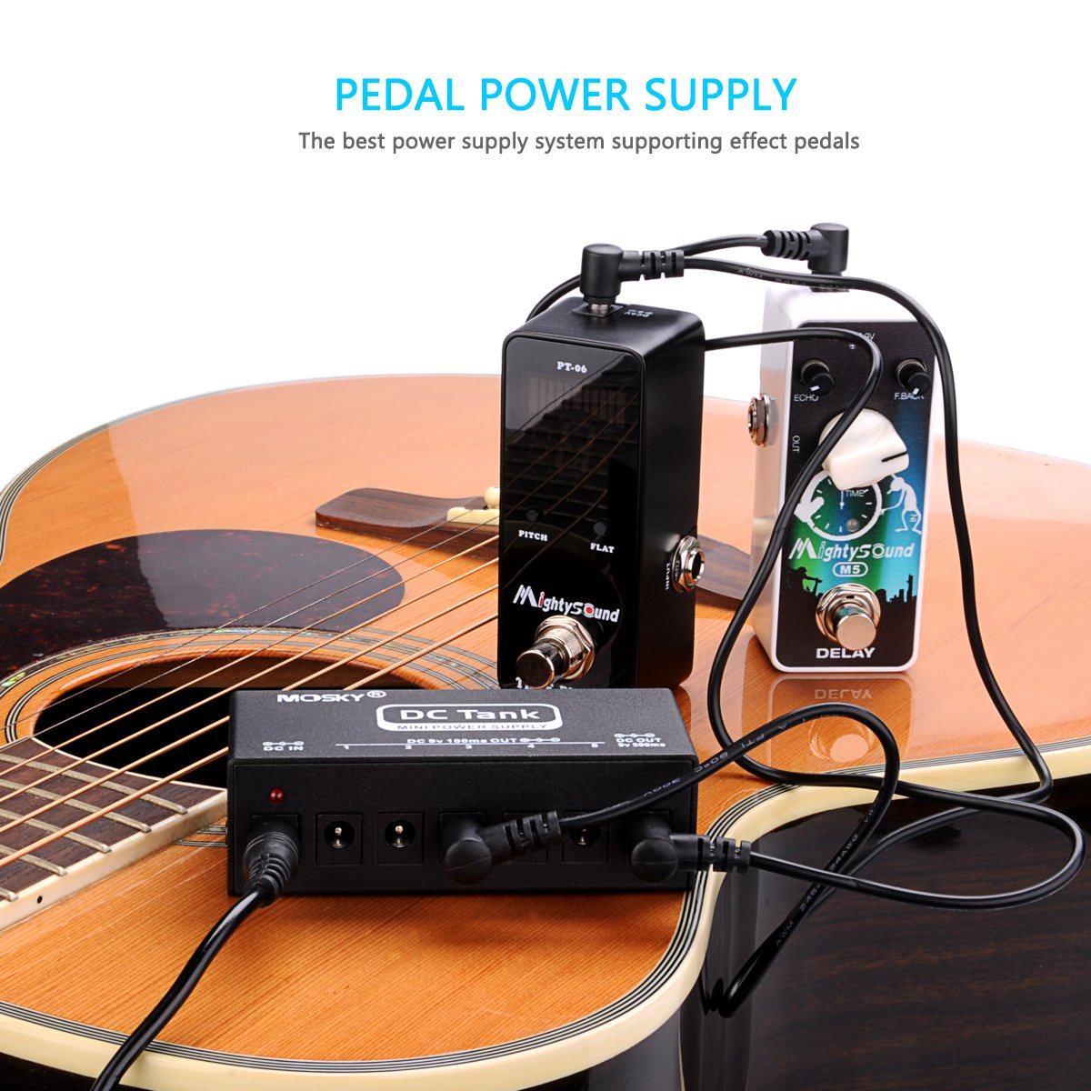 Mini Pedal Power Supply 6 Isolated Dc 9v Outputs With Short Circuit Protection For Electric Guitar
