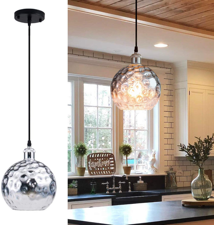 Modern Mini Globe Pendant Light with Hammered Glass Shade