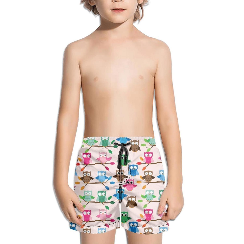 FullBo Cartoon owl Bike Owls Family Little Boys Short Swim Trunks Quick Dry Beach Shorts