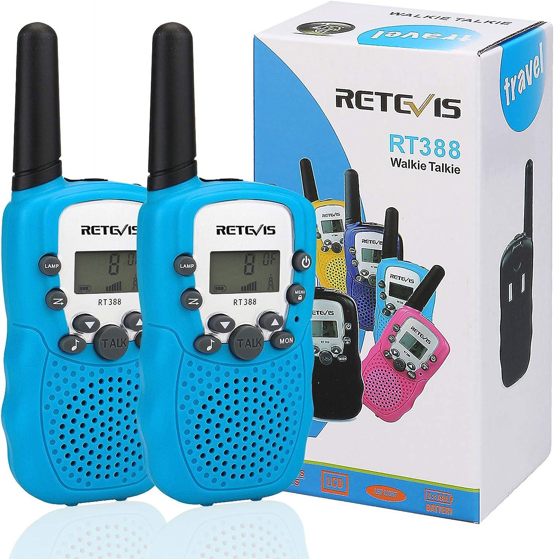 Retevis RT388 Walkie Talkie Niños PMR446 8 Canales LCD Pantalla VOX 10 Tonos de Llamada Bloqueo de Canal Linterna Incorporado Juguete Regalo para ...