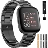 Liwin Metal Band Compatible with Fitbit Versa 2 / Versa/Versa Lite, Bands for Men Women, Replacement Stainless Steel Bracelet