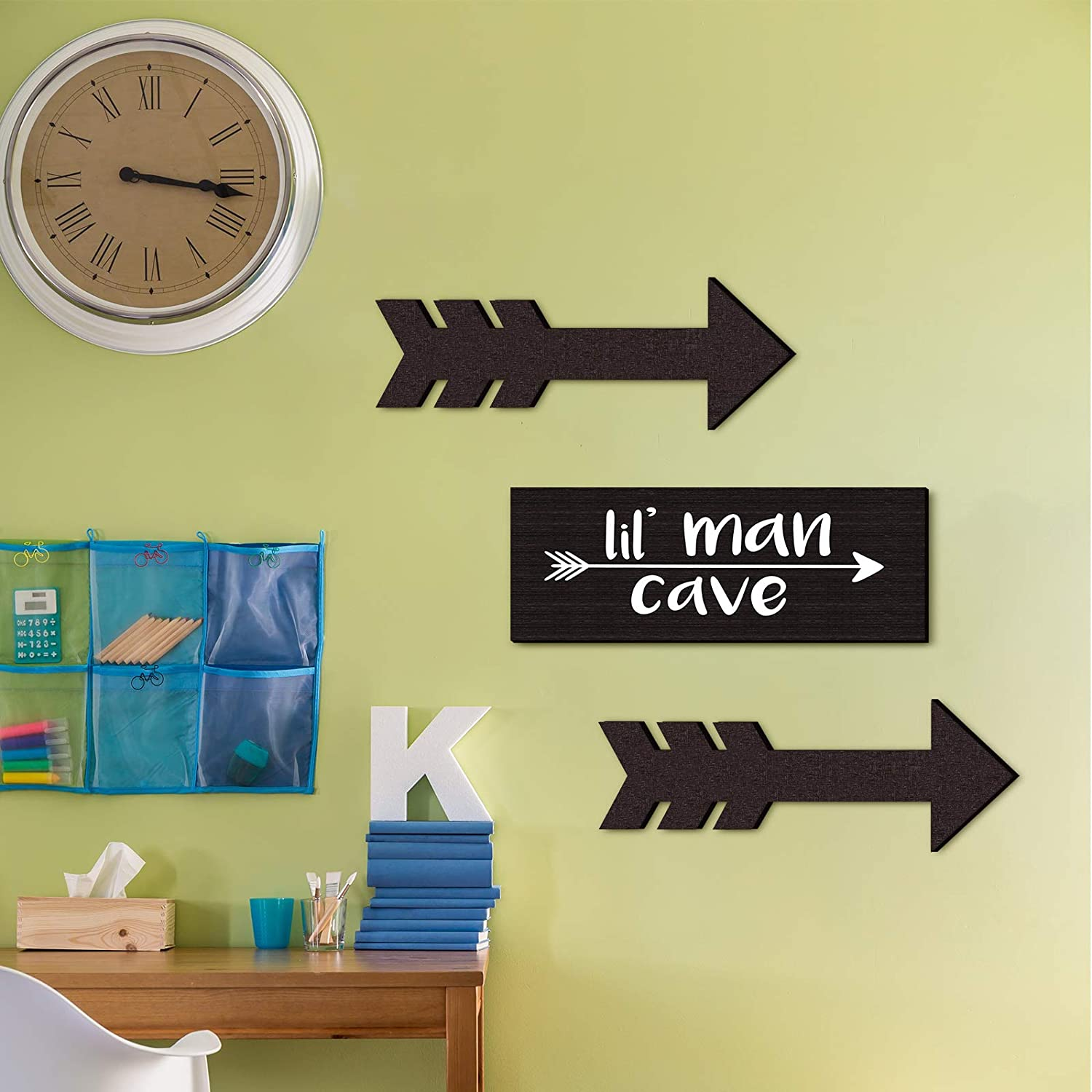 3 Pieces Lil Man Cave Wooden Sign Rustic Little Boys Nursery Wall Decor with 2 Wooden Arrow Hanging Signs Decorative Wood Plaque for Little Baby Boy or Toddler Kids Bedroom Sign