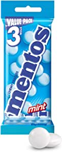 MENTOS Mint Candy Roll 3 Pack, Minty Freshness and Enjoyable Chew, 112.5g