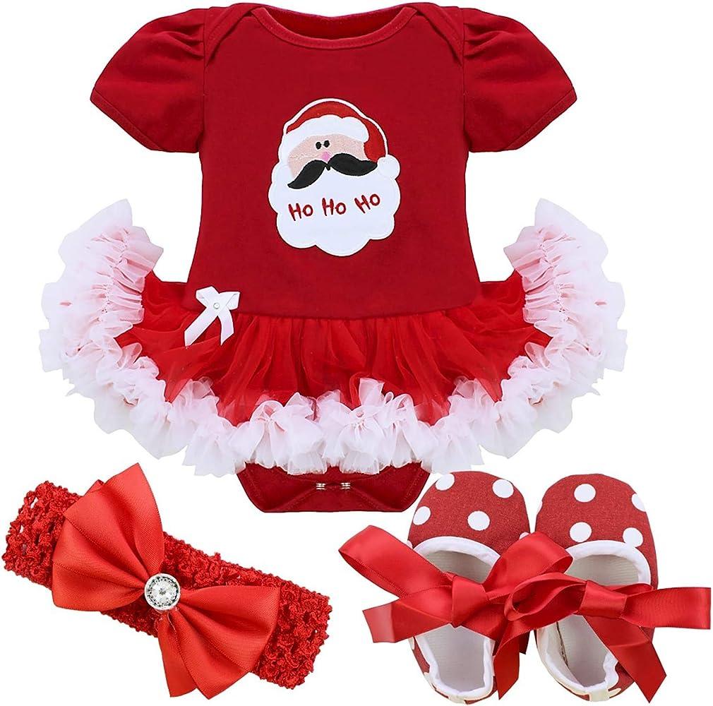 MSemis Traje Navidad Vestido Rojo Fiesta para Bebés Niñas Disfraz ...
