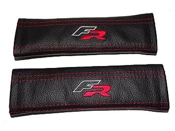 Fundas de cuero negras para cinturón de seguridad con «Fr» bordado en rojo.: Amazon.es: Coche y moto