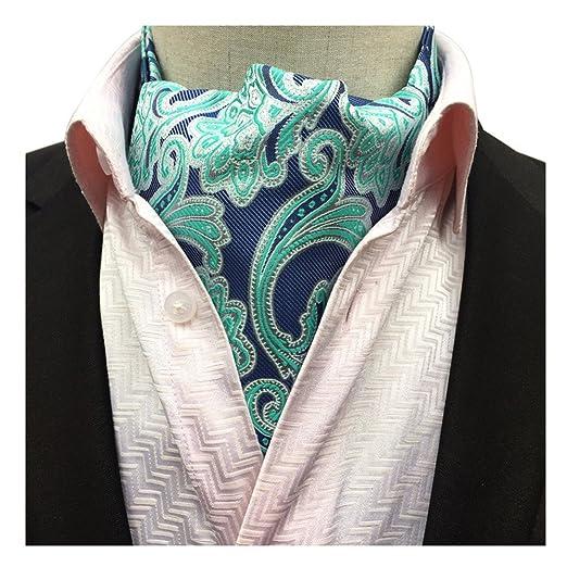 d3b999cbc01c Secdtie Men Blue Green Silk Cravat Woven Ascot Necktie Self-tied Comfort  Gift 14 at Amazon Men's Clothing store: