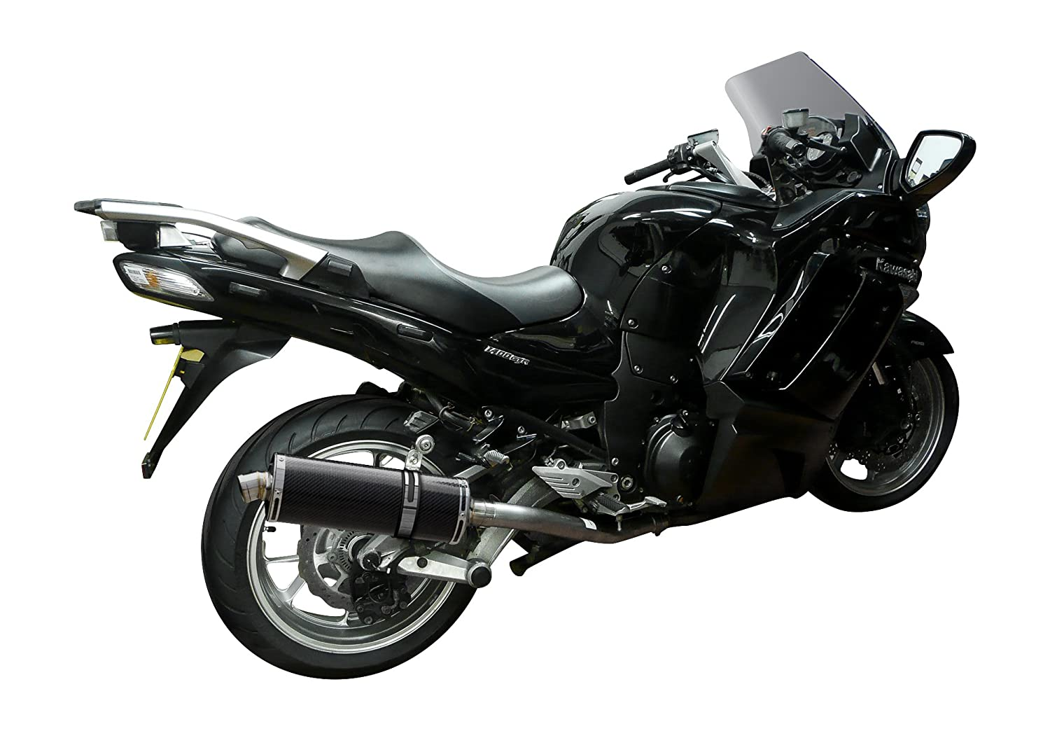 Delkevic Aftermarket Slip On Kawasaki Concours 14 GTR1400 Stubby 14 Carbon Fiber Oval Muffler Exhaust 08-19