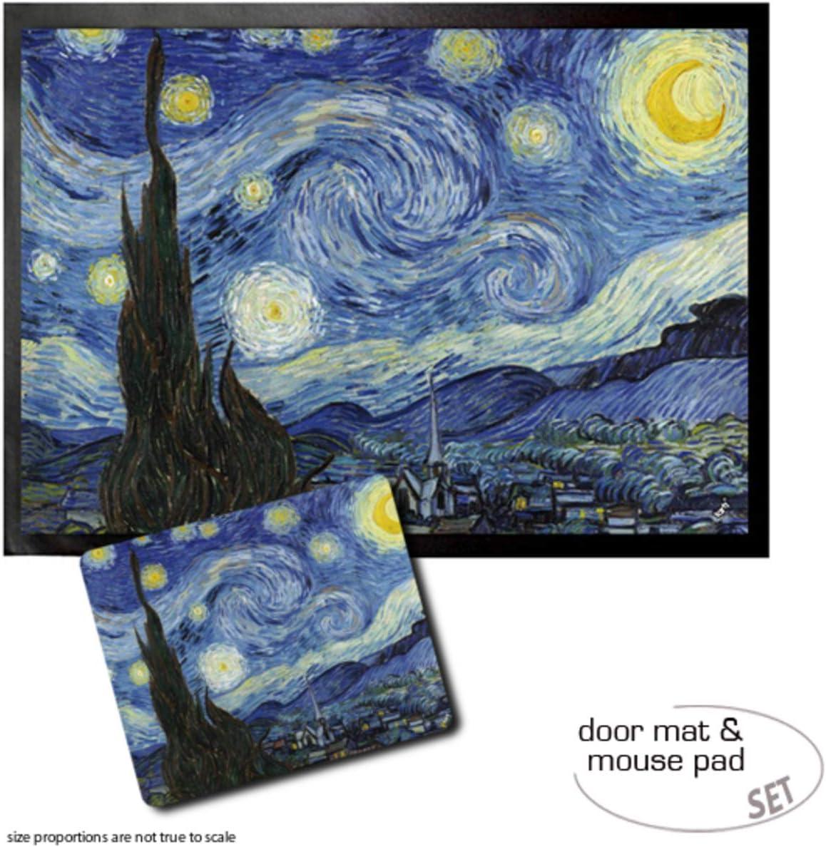 1art1 Vincent Van Gogh Die Sternennacht 1889 Fußmatte Innenbereich Und Außenbereich Design Türmatte 70x50 Cm Mauspad 23x19 Cm Geschenkset Küche Haushalt