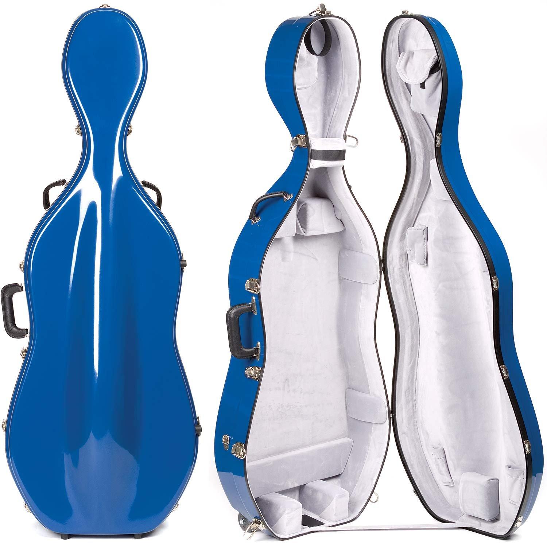 Bobelock 2000W Fiberglass Blue/Gray 4/4 Cello Case with Wheels BHBU0503A317