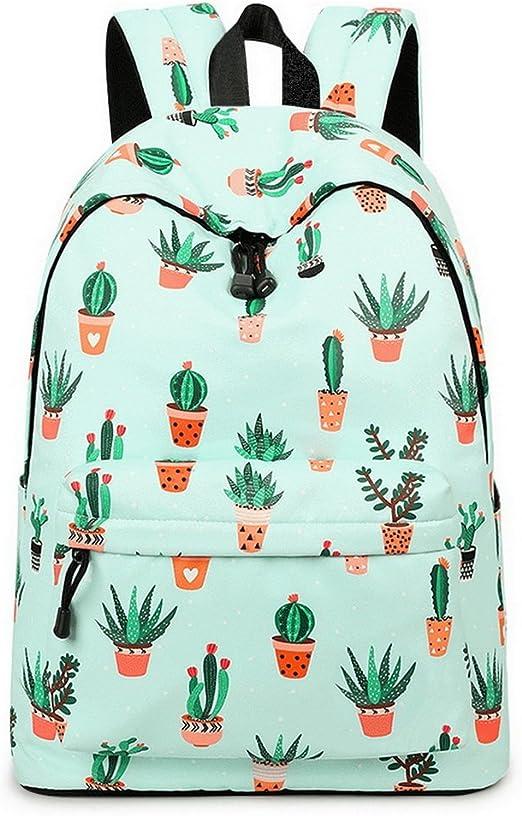 Acmebon Mochila Escolar de Ocio Ligera y Moderna - Cartera Escolar para Niñas y Niños con Lindo Estampado Cactus 626: Amazon.es: Equipaje