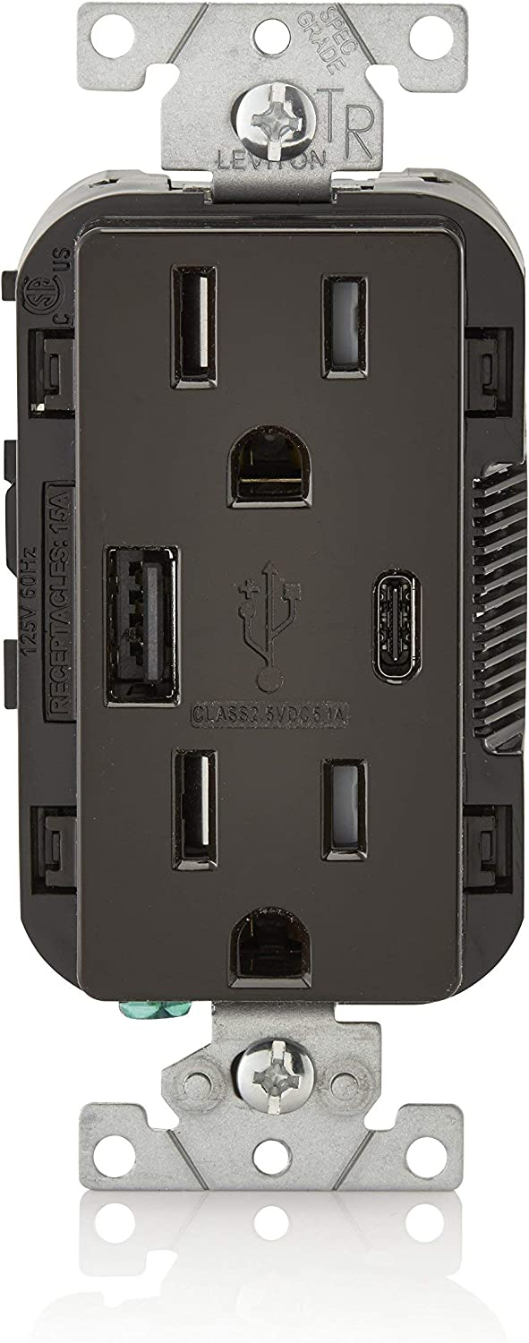 Leviton T5633-B 15-Amp Type A & Type-C USB Charger/Tamper Resistant Receptacle, Compatible with iPhone XS/MAX/XR/X/8/7/6, iPad, Samsung Galaxy S9/S8/S7/S6, Google Pixel and More, Brown (Renewed)