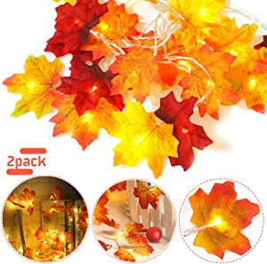 HZONE Thanksgiving Decorations Fall Garland 40 LED Maple Leaf String Lights, 3AA Battery Powered Autumn Decor Lighted Garland for Holiday Party Indoor Outdoor Thanksgiving Decor (2 Pack)