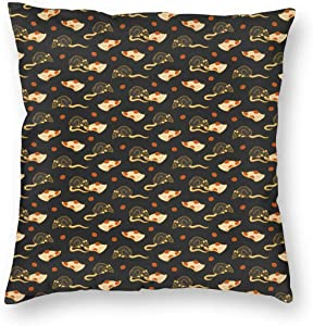 WAZHIJIA Cartoon Mouse Pizza Decorative Throw Pillow Covers 18 X 18 Inch,Animals and Food Cotton Linen Cushion Cover Square Pillow Cases for Car Sofa Home Decor