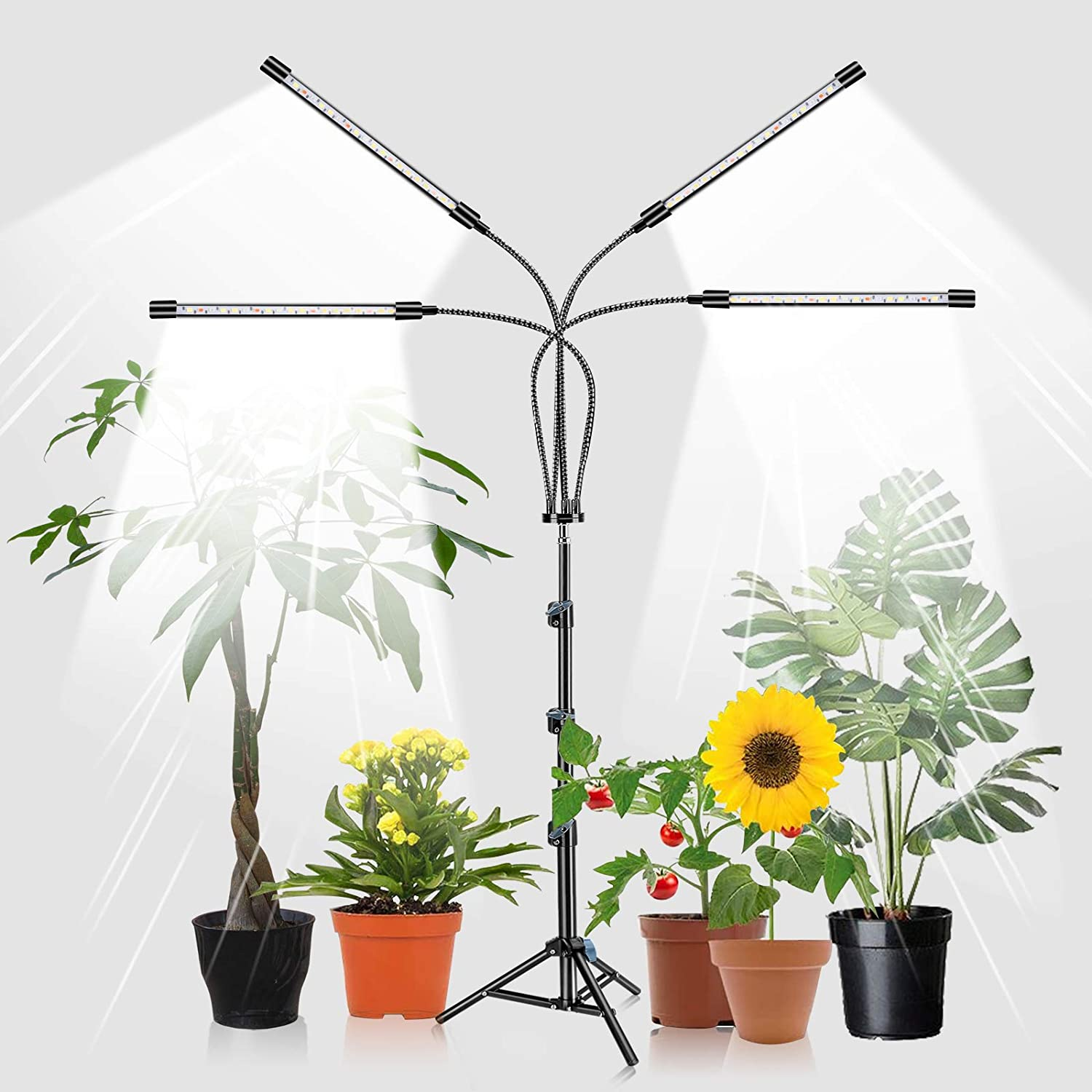 Grow Light with Stand, 80 LED Floor Standing Plant Growing Lamp with Full Spectrum for Indoor Plants, 3 Modes & 10 Dimmable Levels with 4/8/12H Timer (Sunlight)