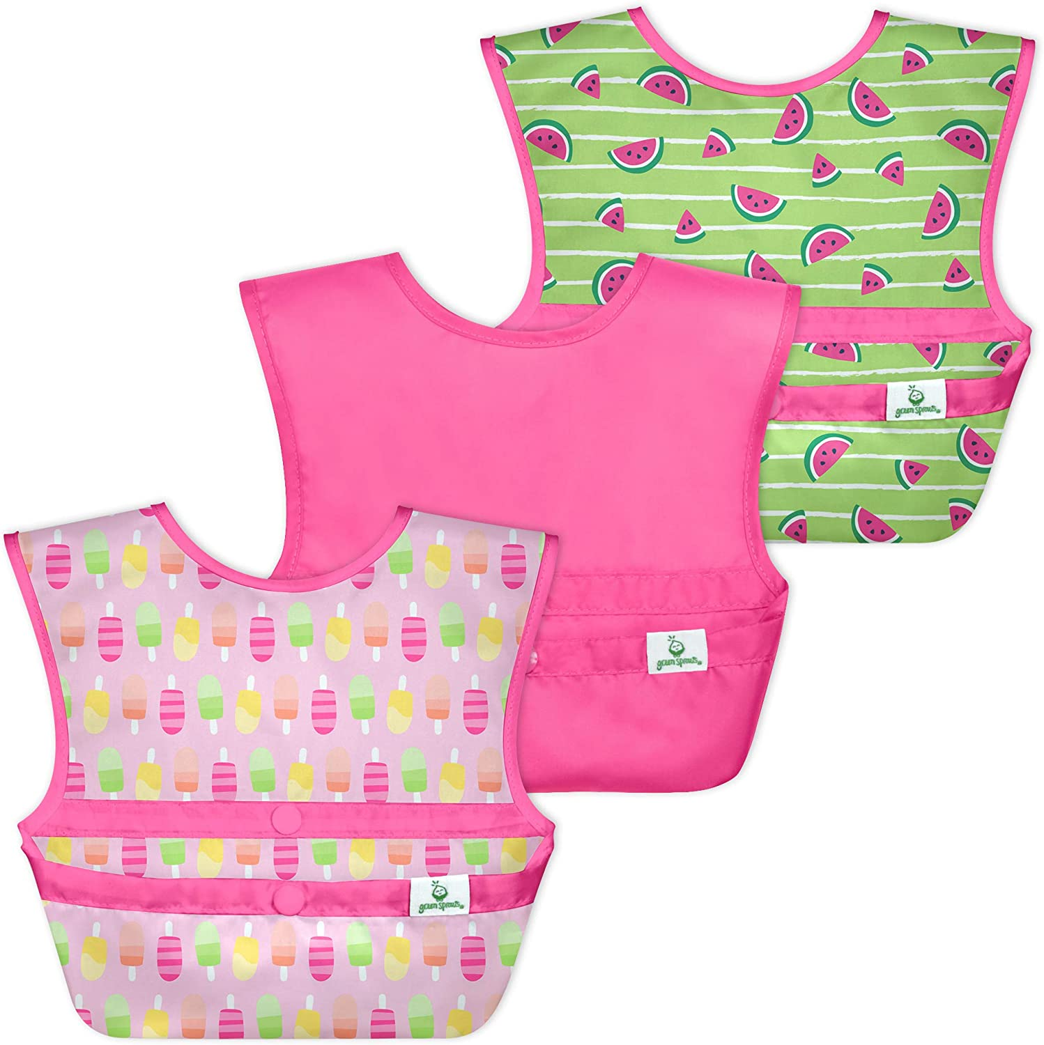 green sprouts Snap and Go Easy-wear Bibs for Baby and Toddler