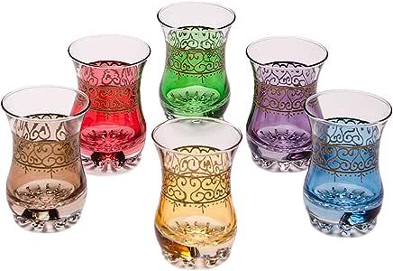 Copas de té decoradas orientales Set 6 copas Hafis