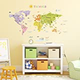 Decowall,DMT-1306,The World Map peel & stick wall decals stickers (Large)