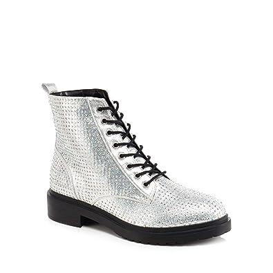 9b542b0f9 Debenhams Faith Womens Silver Diamante  Barkle  Biker Boots  Amazon.co.uk   Shoes   Bags