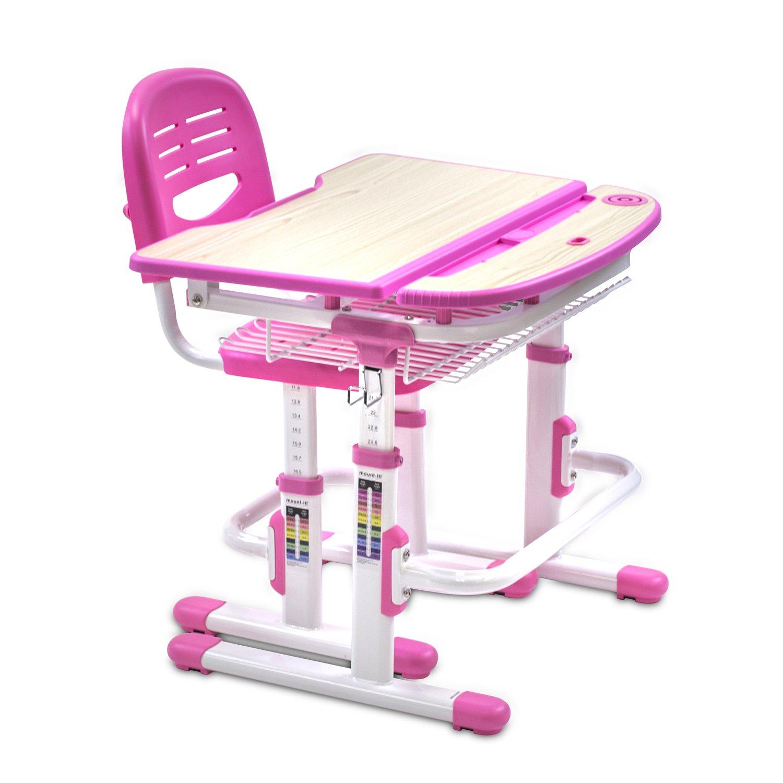 Mount-It! Height Adjustable Student Desk, Children Desk and Chair Set, School Desk Combo, Kids Computer Desk and Chair Set, Art Desk Workstation, Kids Study Table Pink