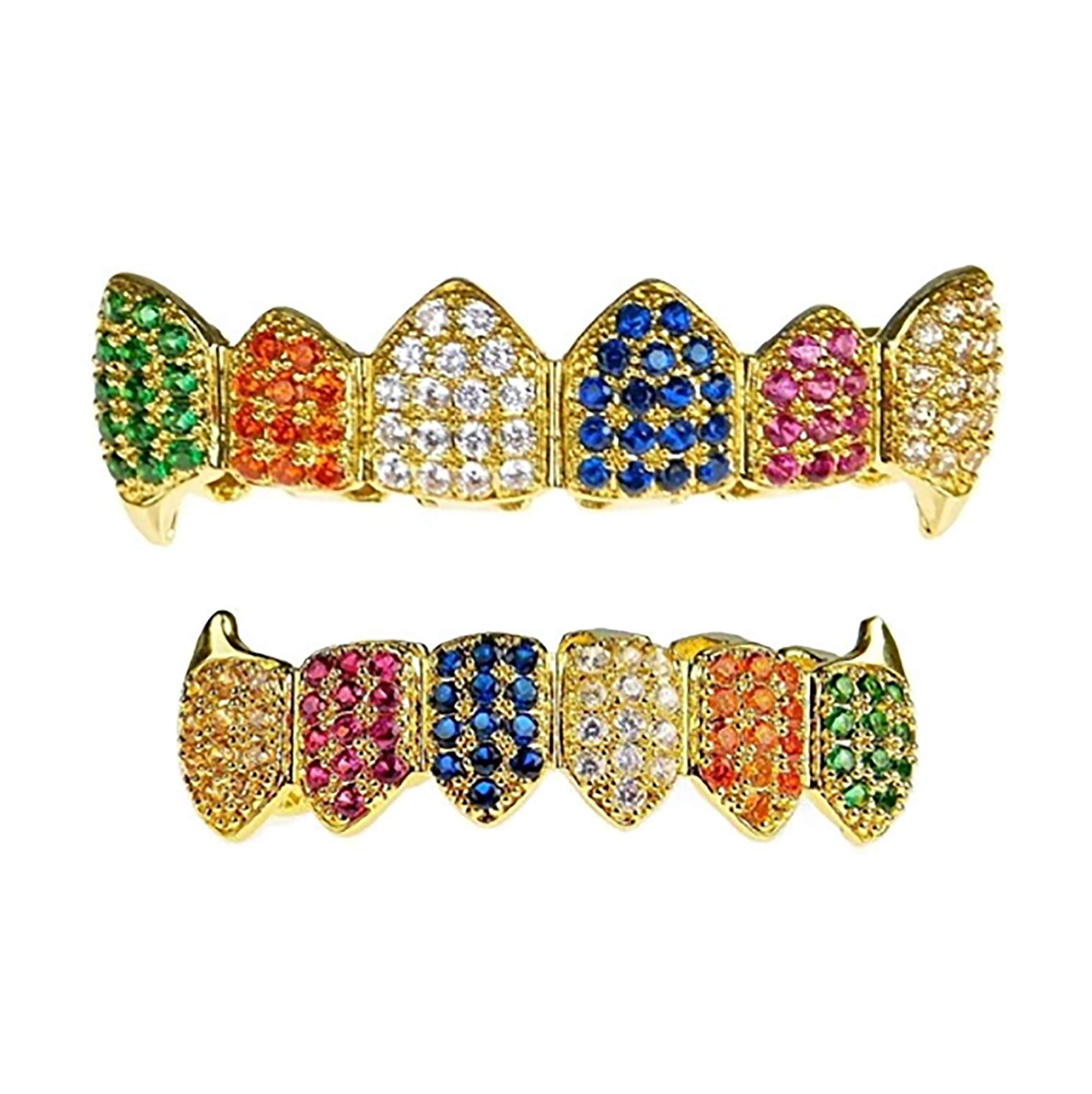 Shop-iGold 18K Gold Plated CZ Cluster Custom Slugs Top Bottom Rainbow Multi Color Grillz Fangs Mouth Teeth Grills Set - Grillz, Teeth Cap, Iced Out Grillz (Top & Bottom Set) by Shop-iGold