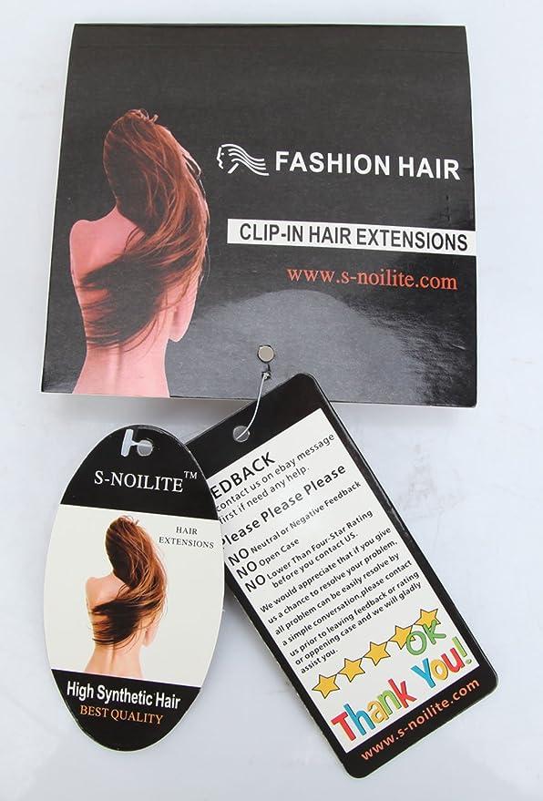 S de noilite 60 cm de clip en pelo notebook 3/4 peluca Clip en extensiones pelo garantía Gel ockt Ondulado un tresse pelo (Maroon mezclar), ...