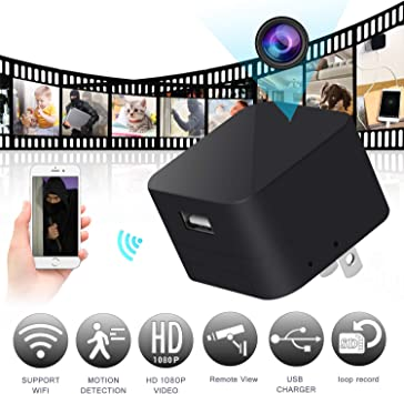 New WIFI 1080P Wall Charger HD Hidden Camera Motion Detection Mini Recorder 64GB