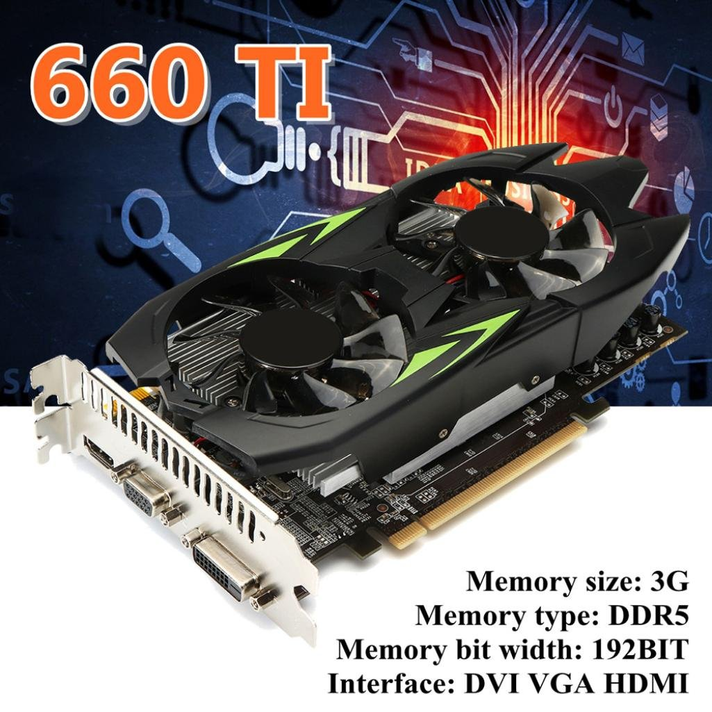 Clearence!! Gaming Graphic Card 3GB GTX660TI 3GB GDDR5 192bit VGA DVI HDMI Graphics Card with Fan (Black) by Saingace (Image #8)